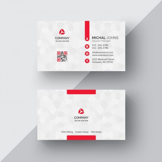 白色与红色企业名片模板免费Psd