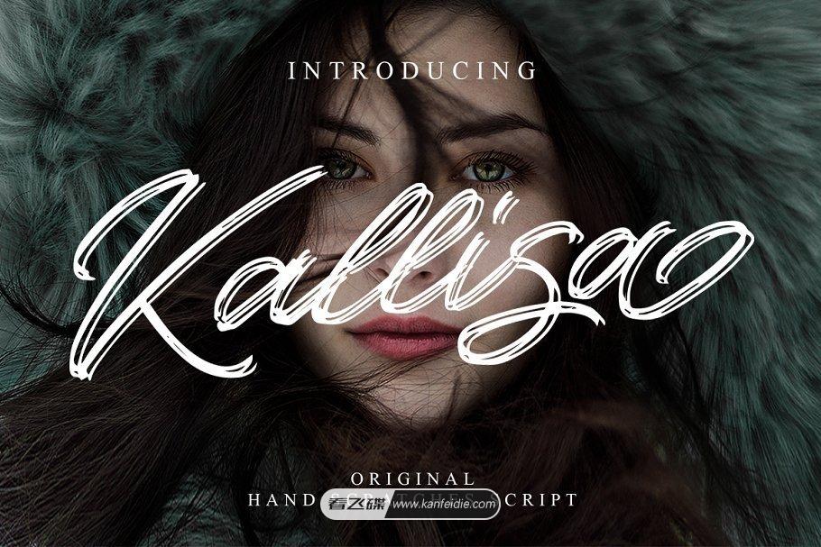 Kallisa字体为现代毛笔字体,它是由Blankids Studio设计。是一种非常新颖的画笔字体,效果看起来和真正手写只有细微差别,就像独特手工风格的斑马笔快速书写而成。