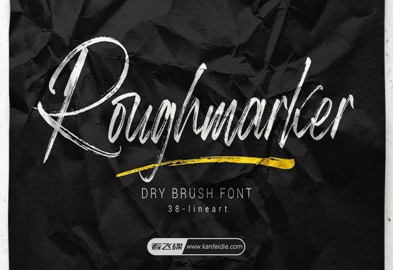 Roughmarker 粗糙纹理的手写笔刷英文字体下载