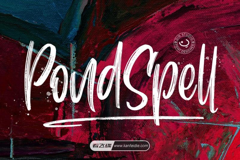 Pondspell 粗糙纹理干刷画笔手写艺术英文字体下载