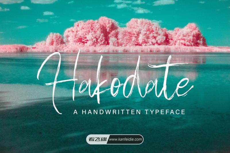 Hakodate 水彩干画笔风格的休闲手写英文书法字体下载