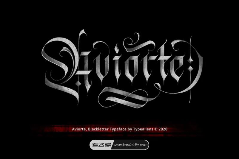 Aviorte 暗黑风格的哥特式复古英文装饰字体免费下载