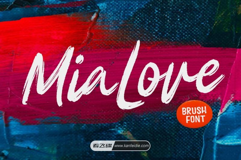 完美质感的手写英文笔刷字体下载 Mia Love Font