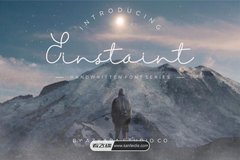 优美纤细线条的连笔手写英文签名字体下载 Einstaint font