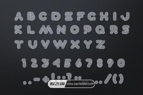 时尚复古的圆角弧形条纹艺术英文字体免费下载 Lineat font