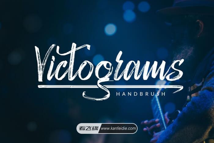 干画笔风格的英文艺术字体下载 Victograms Font