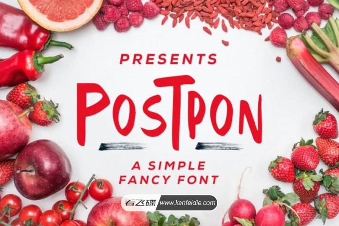粗体英文手写卡通艺术字体免费下载  Postpon Font