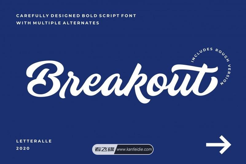 Breakout 一款有个性的粗体英文连笔手写书法字体下载