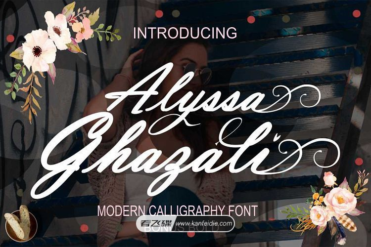 Alyssa Ghazali 现代休闲的花体手写英文书法艺术字体下载