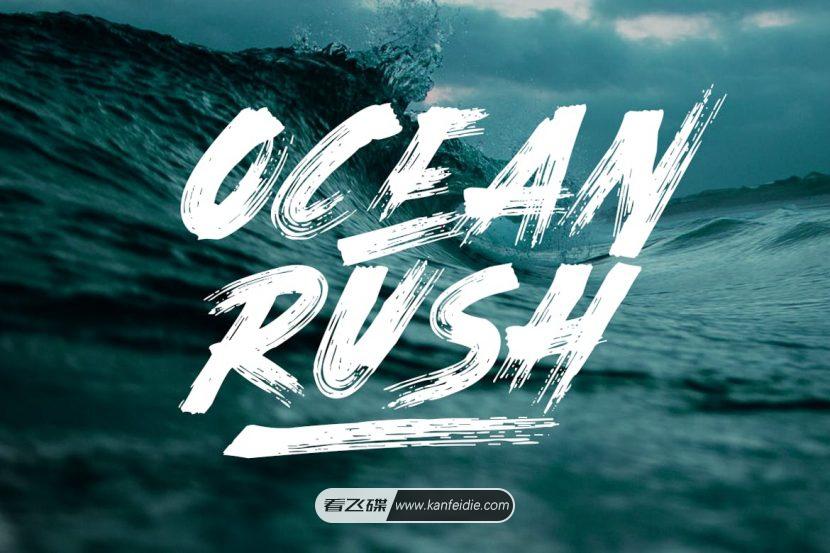 Ocean Rush字体 褪色笔刷效果 免费下载