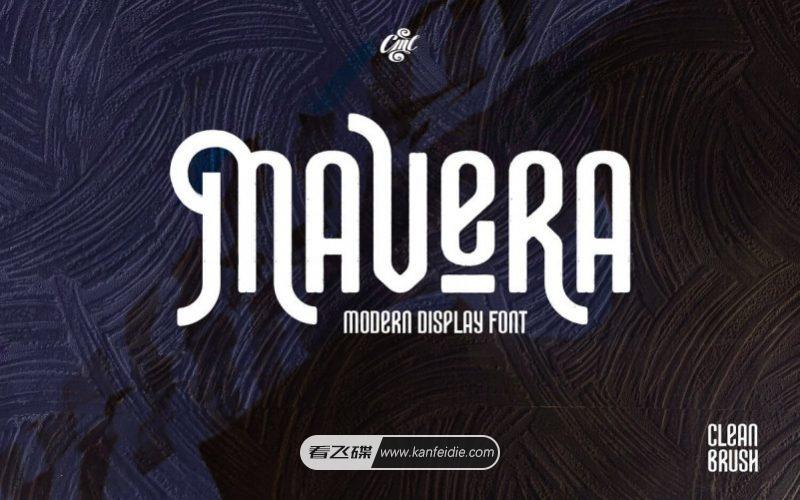 竖长抽象英文字体 Mavera 免费下载