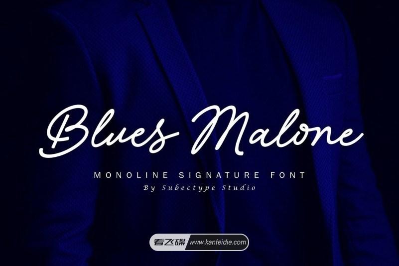 Blues Malone,一款优雅的艺术签名字体。