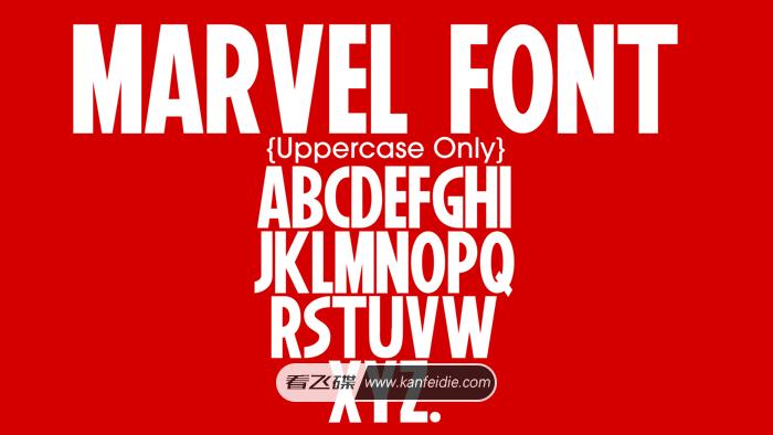 相比经常看漫威电影的小伙伴都看过这个片头吧,红色的背景下写着Marvel这个英文单词,也就是漫威的LOGO。今天分享的就是漫威风格的字体,字形偏窄且粗,字体只支持26个英文大写字母和小数点。