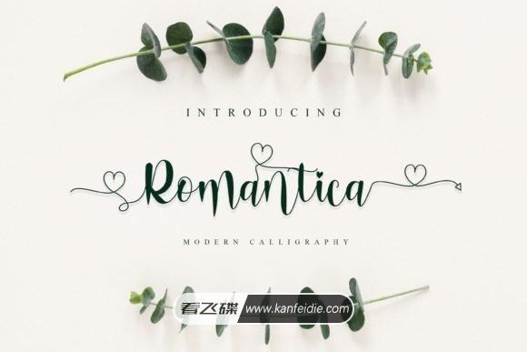 浪漫优雅的连写书法英文字体 Romantica