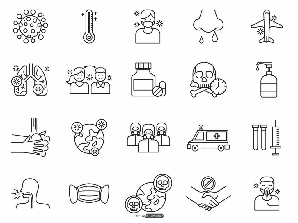 20个有关新冠肺炎的AI矢量icon图标免费下载