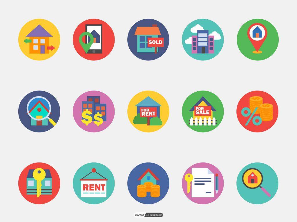 15个房地产相关的icon图标打包下载 多种格式