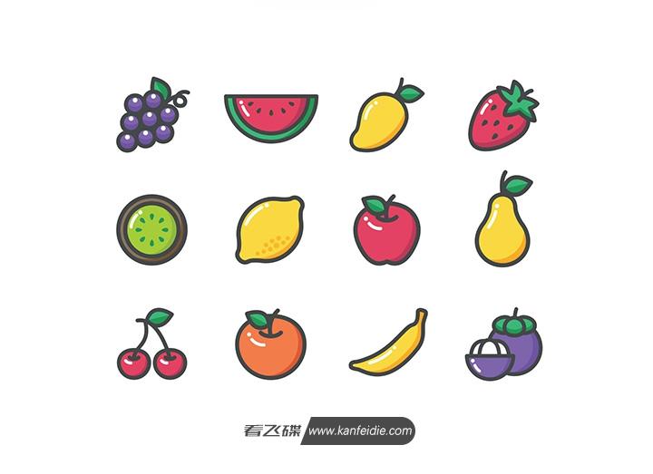 12个卡通水果图标素材(Ai&Sketch)