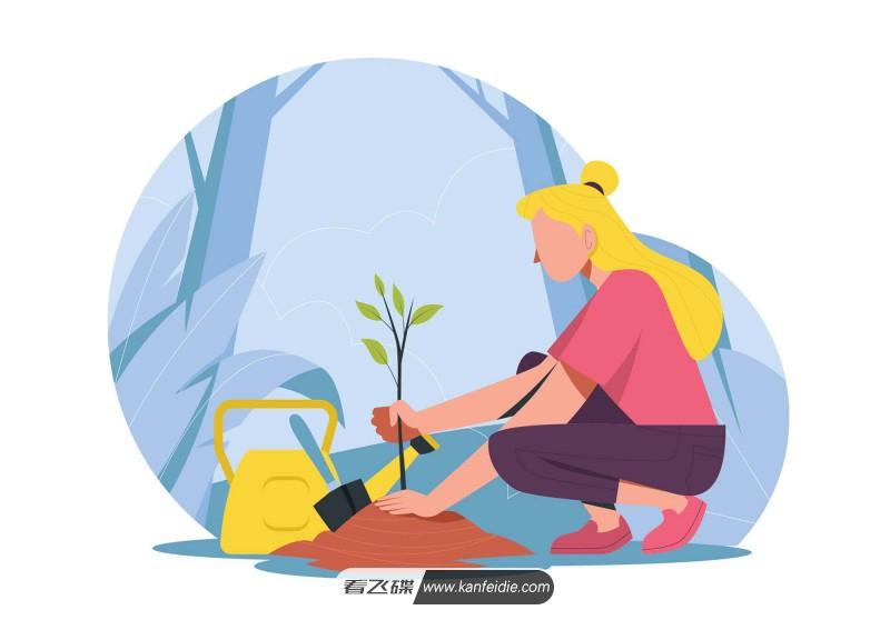 植树的女孩扁平化矢量插画下载(AI)