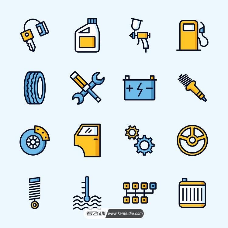 汽车维修,配件矢量图标下载(Ai)