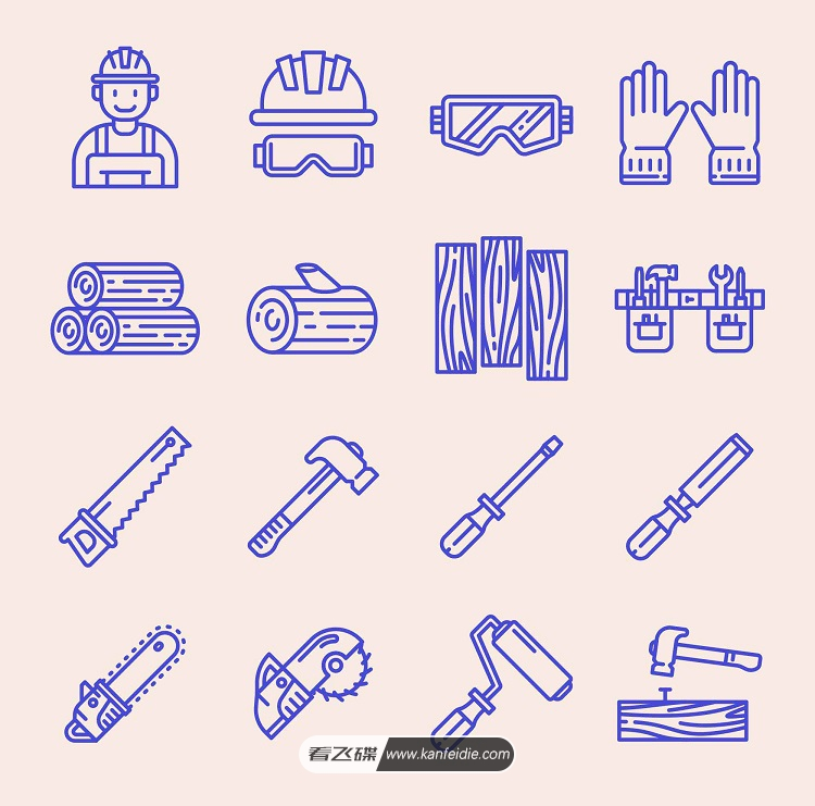 木工工具矢量图标设计素材下载(Ai)
