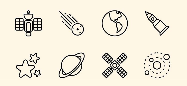 一组关于外太空和宇宙天文学的线条图标素材,有火箭图标,外星人图标,地球,宇宙飞船icon等共12个。
