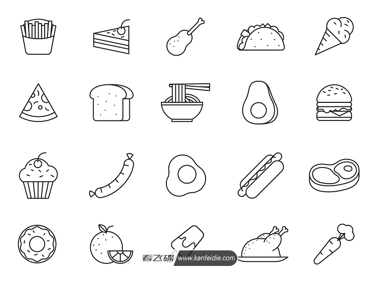 20个食物矢量线条图标打包下载 Ai格式