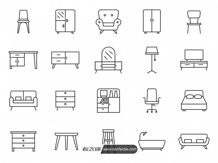 20个家具简笔画图标素材下载_Ai矢量格式