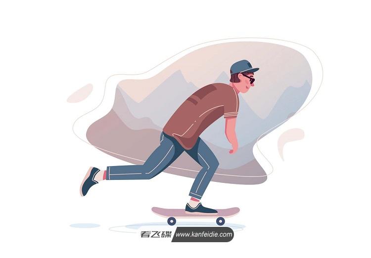 滑板男孩手绘插画 矢量Ai源文件下载