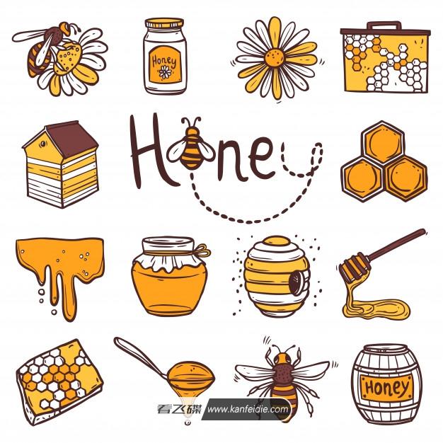 16个蜂蜜产品的手绘图标素材