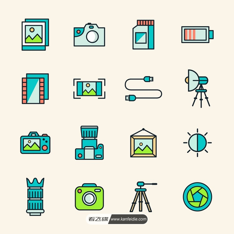 相机、摄影矢量图标素材