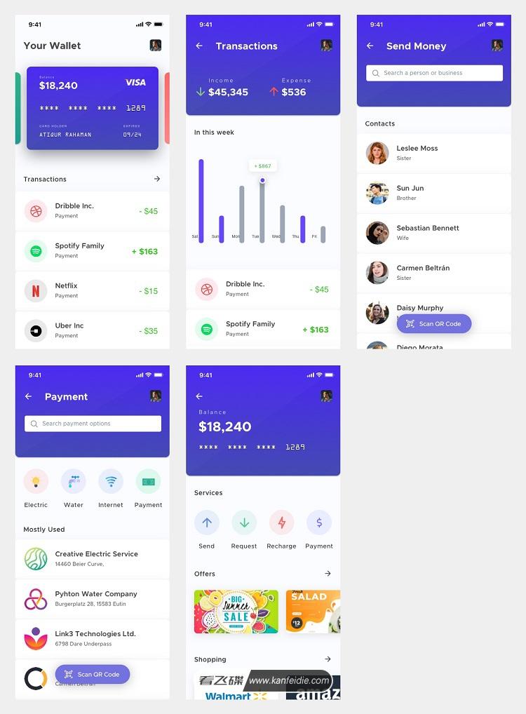 手机钱包app界面设计UI模板