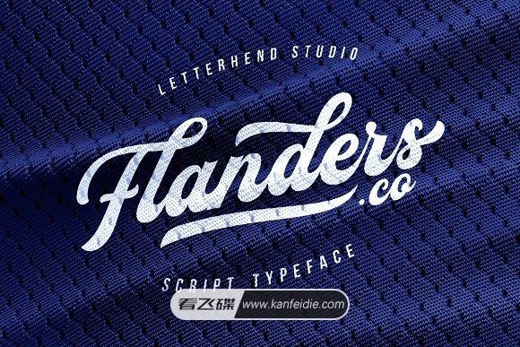 现代运动风格英文连笔字体 Flanders免费下载