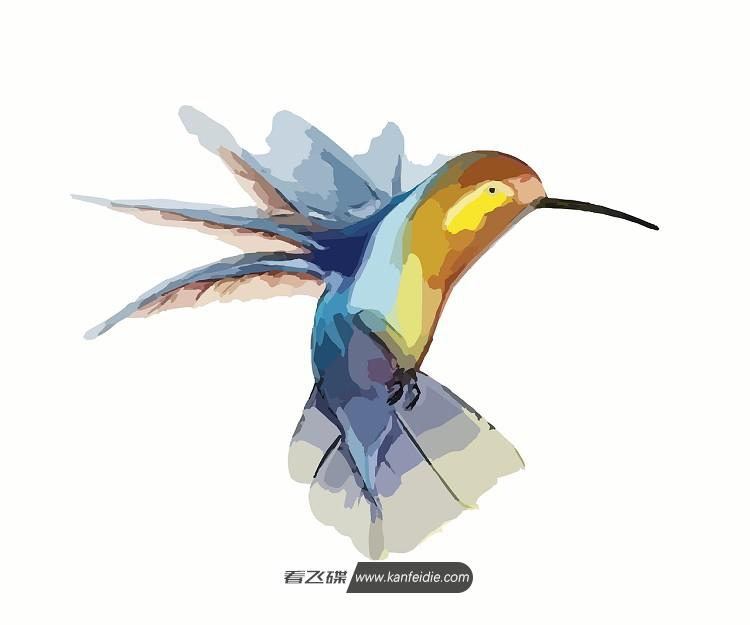 一幅五颜六色水彩画素材,SVG矢量格式,内容为一直可爱的小蜂鸟正在扑棱着翅膀,采食花粉。