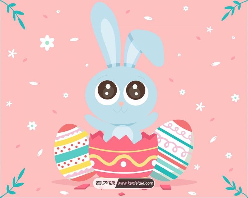 可爱的大眼睛卡通兔子插画素材免费下载