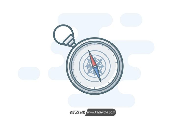 手绘指南针彩色矢量图素材下载