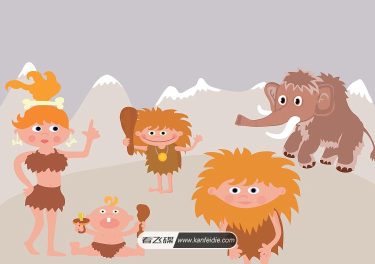 原始人与猛犸象扁平化矢量图下载
