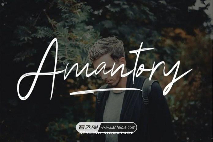 飘逸的英文手写签名字体 Amantory