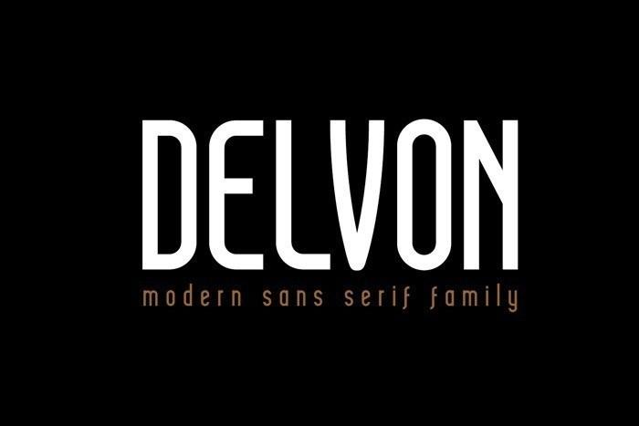 Delvon极简时尚的等线瘦长英文字体