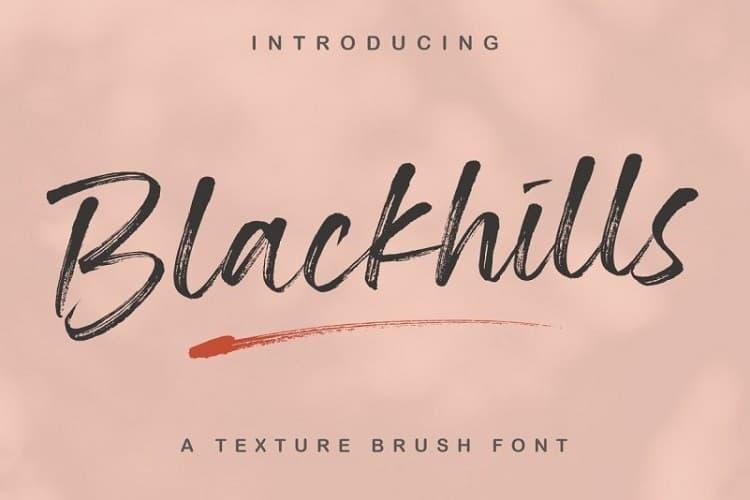 Blackhills毛笔质感手写英文艺术字体下载
