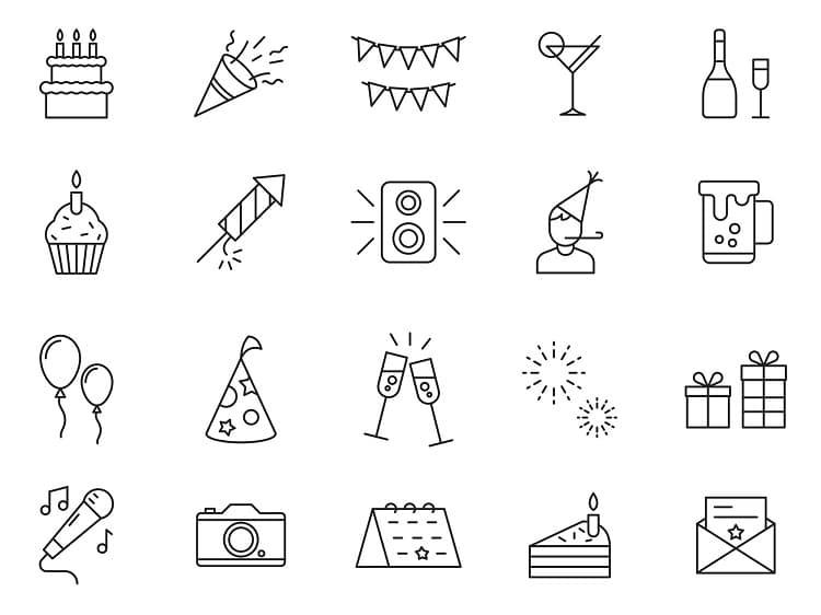 20个生日矢量图标素材打包下载