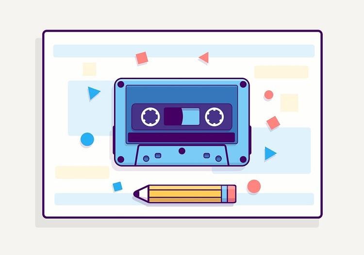 复古盒式磁带彩色矢量图素材下载