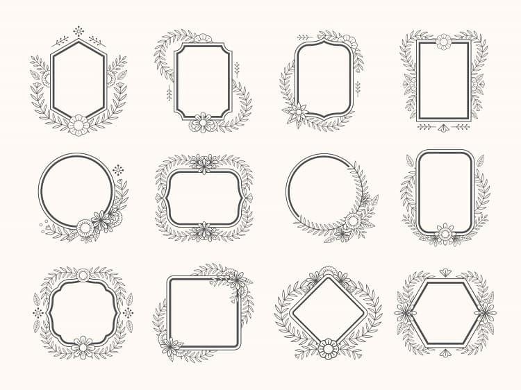 12个花卉简笔画边框ai矢量素材打包下载