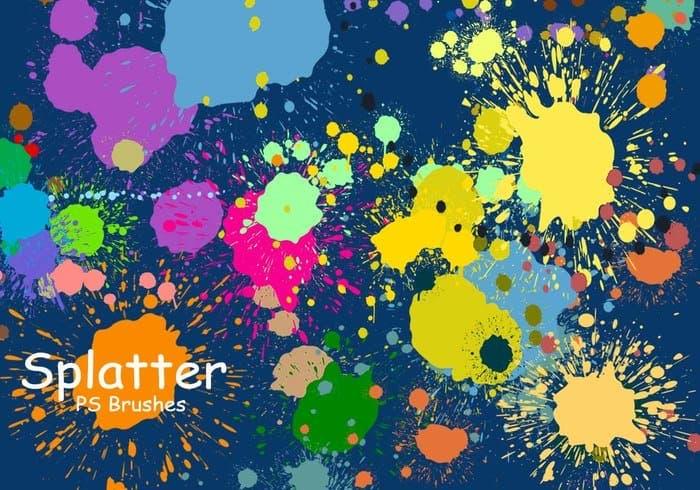 20个飞溅的颜料PS笔刷打包免费下载