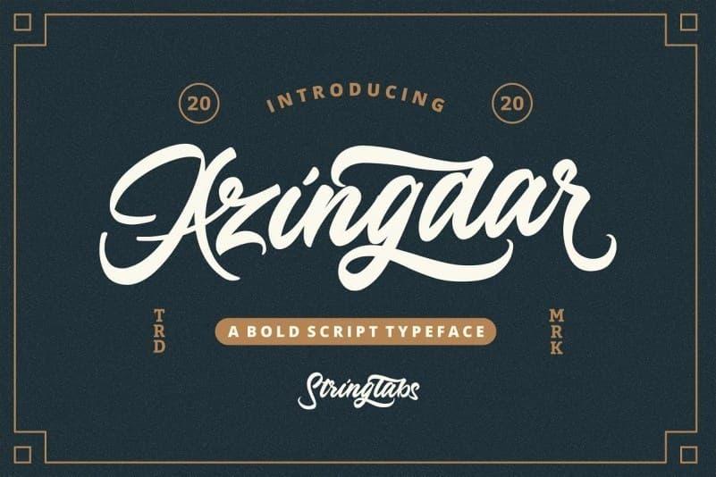 Azingdar创意复古粗体手写英文字体