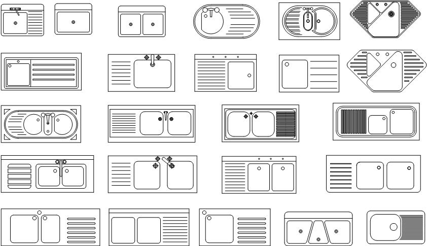 23个厨房洗碗池水槽cad设计图纸打包下载(dwg)