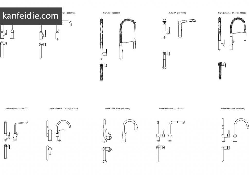 25套浴室淋浴软管水龙头cad设计图块打包下载
