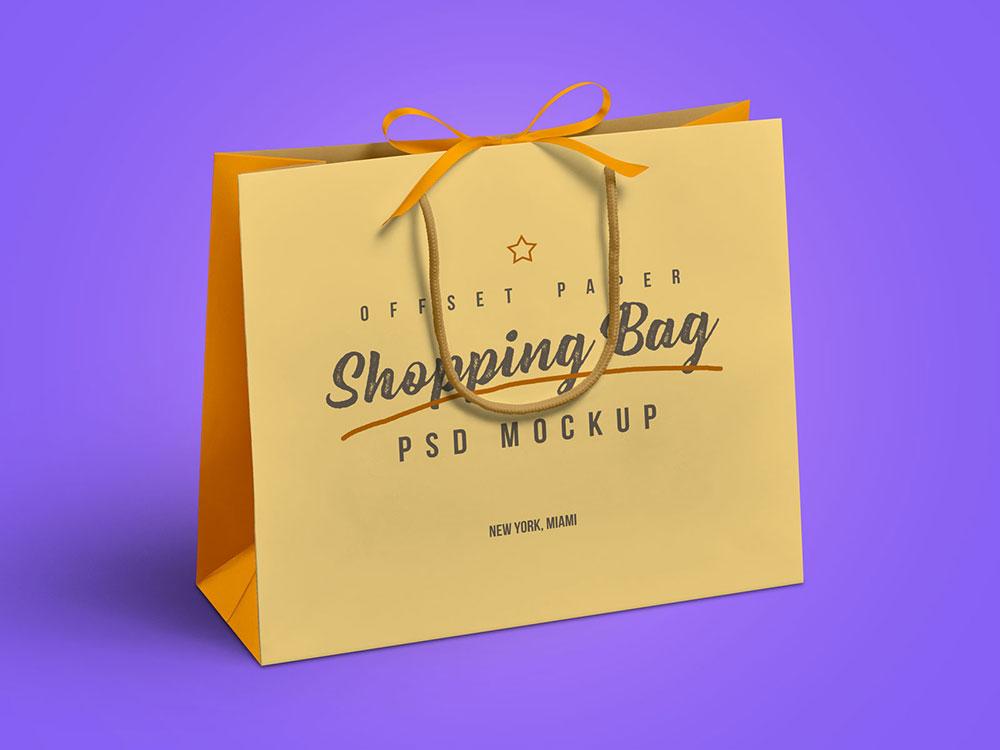 牛皮纸手机购物袋包装样机PSD源文件