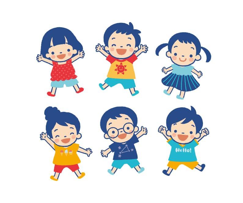 6个幼儿园小朋友卡通ai矢量图素材下载