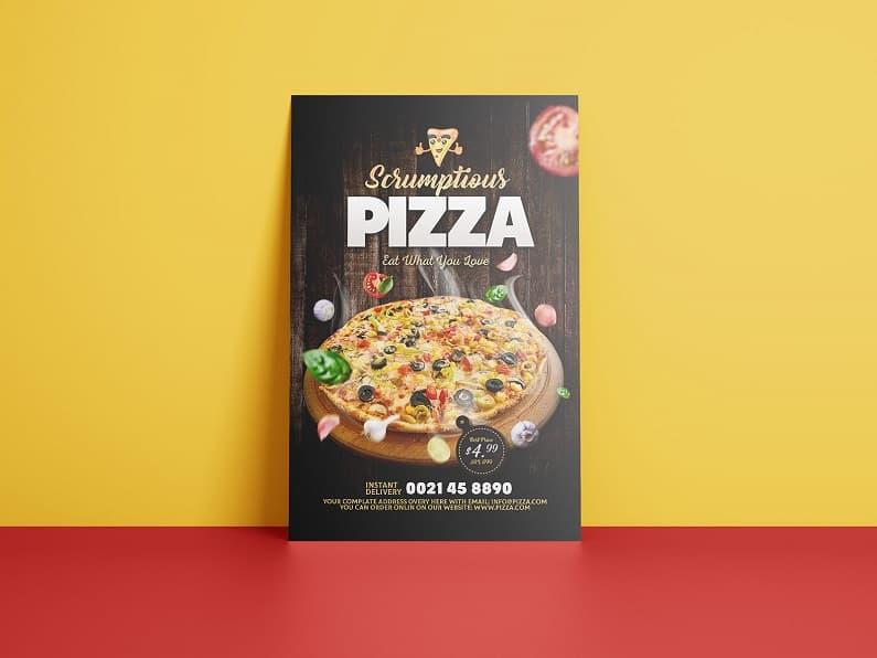 比萨活动店宣传单设计模板PSD素材下载