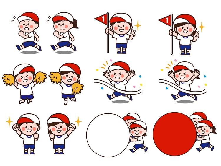 运动会男孩女孩卡通矢量素材打包下载
